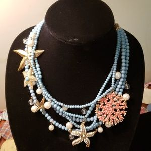 Aqua bead starfish necklace